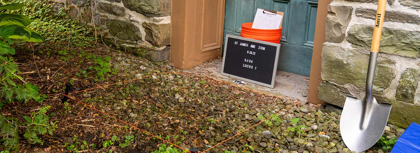 Picture of door first dig spot at St James Church